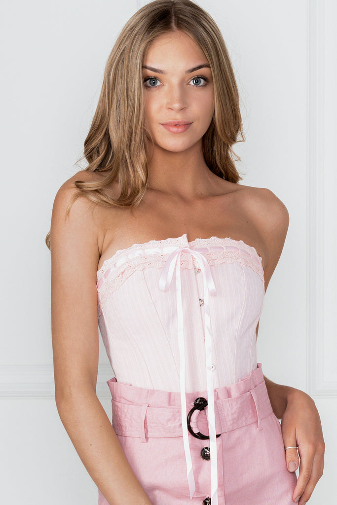 Classic Victorian Corset With Baby Pink Cotton Lace Trim ...