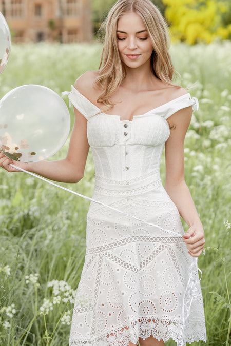White Cotton Embroidery Anglaise Overbust With Gathered Bust