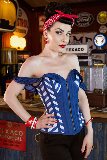 Cobalt Blue Americana Inspired Illusion Stripe Overbust Corset