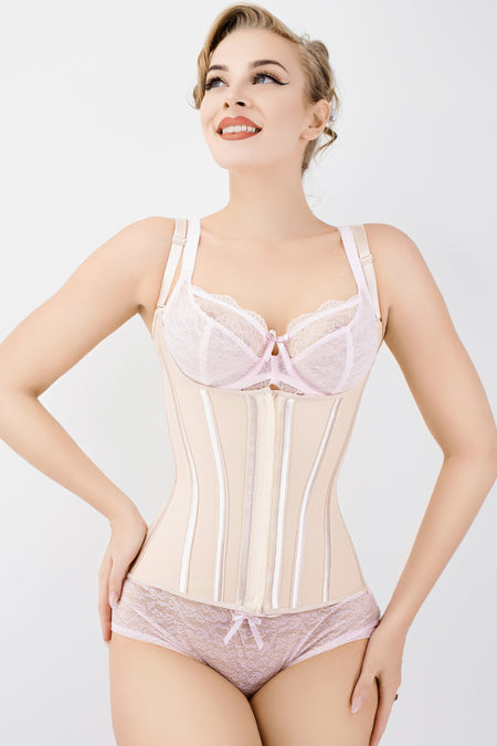 Corset Story Nude Latex Underbust Corset with adjustable Bra Straps