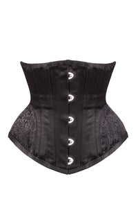 Black Underbust With Contrast Brocade Hip Panel And Curved Hem