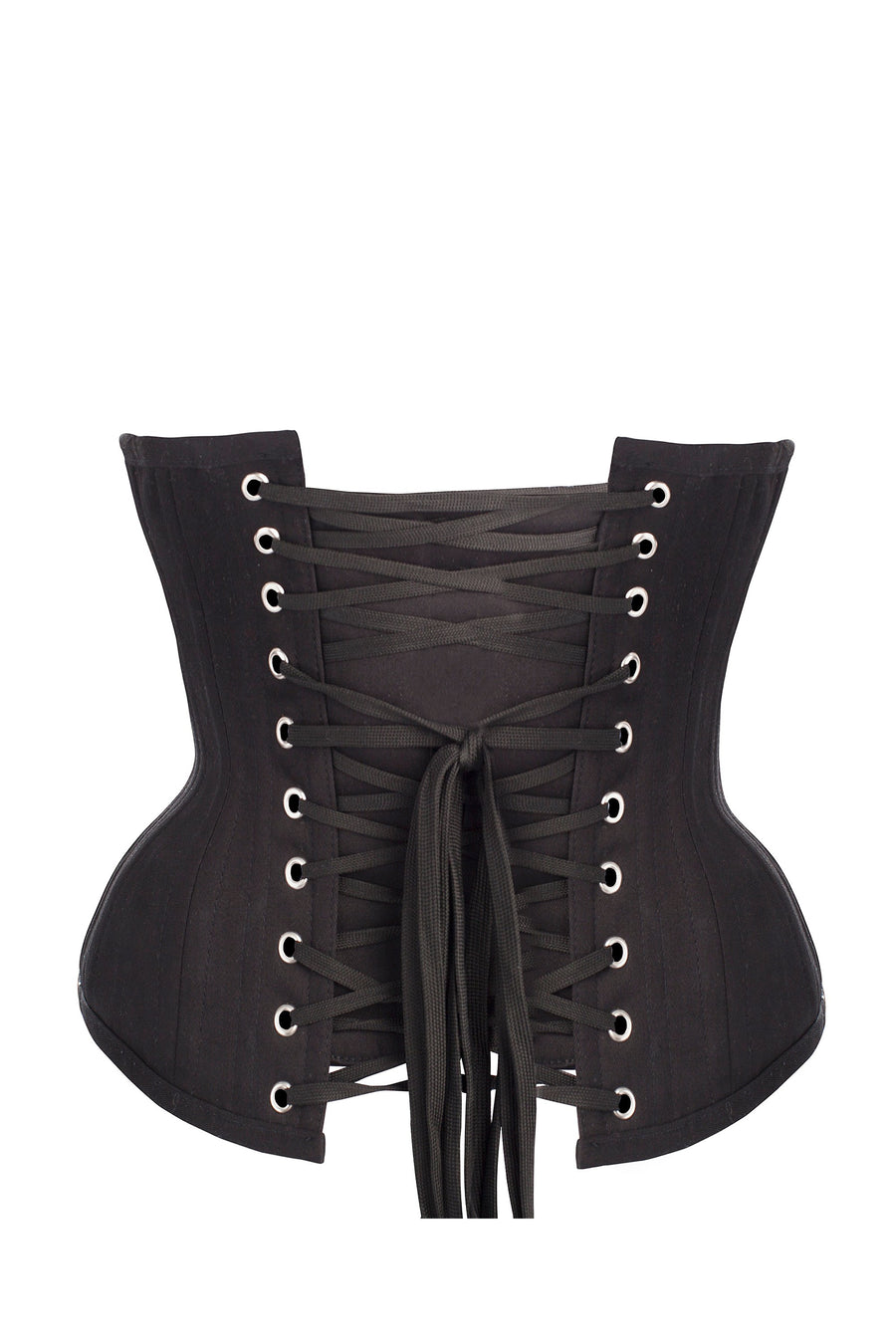 Black Cotton Twill Classic Underbust Waist Trainer With Hip Gores