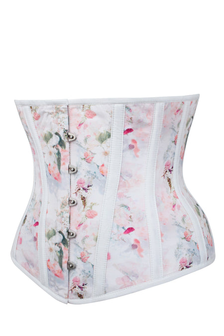 Dainty Floral Baby Pink Underbust Corset