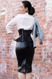 Cotton Black Waist Training Corset with Zip