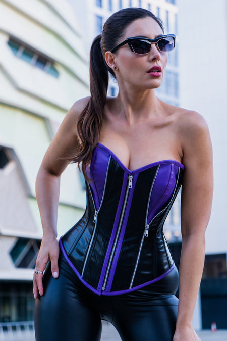 PVC Purple & Black Zipped Corset with Choker