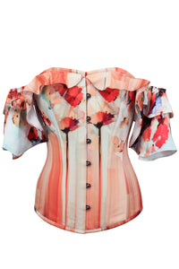 Bold Floral Poppy Print Corset Top with Dramatic Sleeve