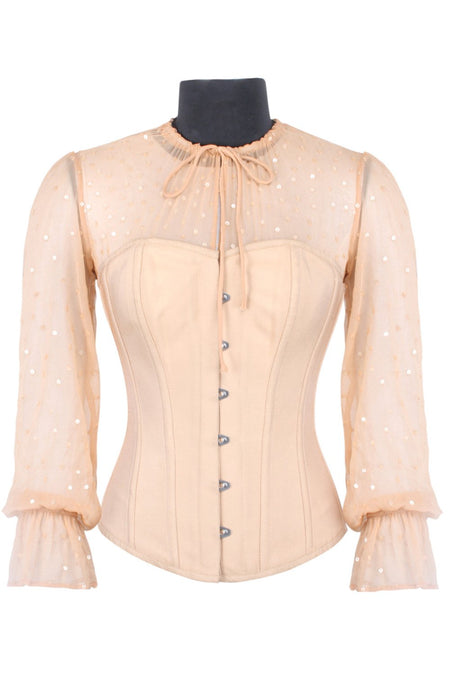 Beige Sequin Overbust Sleeved Corset Top