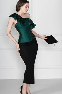 Off the Shoulder Emerald Green Corset Top