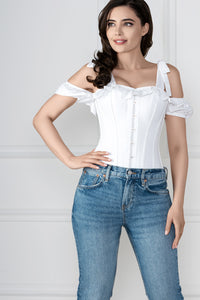 White Cotton Overbust With Sleeves And Shoulder Straps