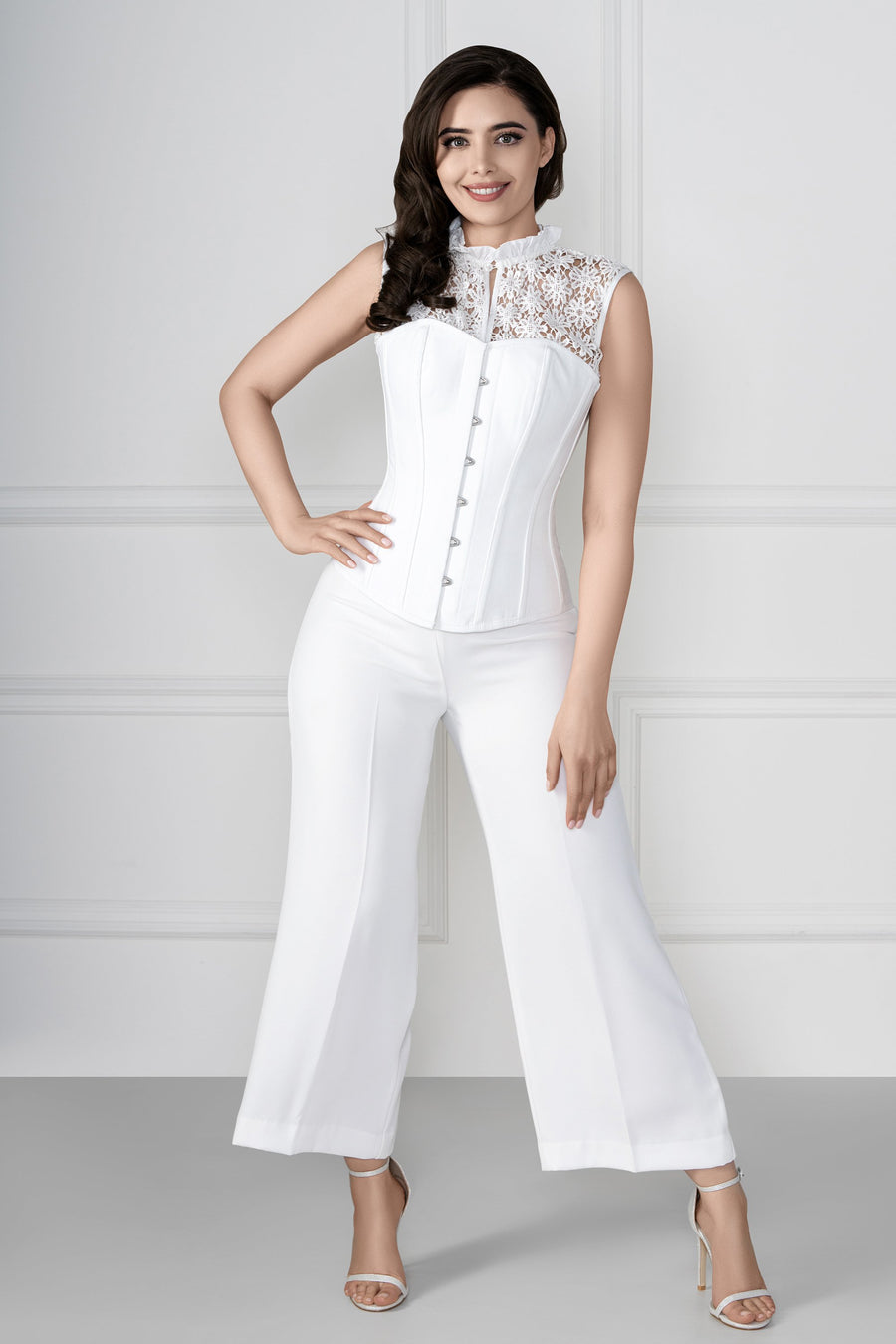 Floral Embroidered White Corset Top – Corset Story US