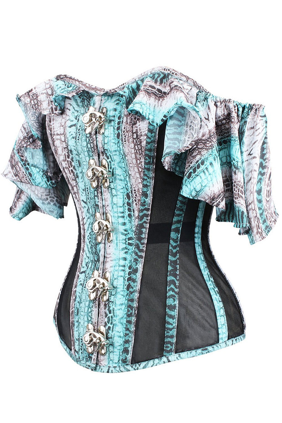 Turquoise Alligator Skin Print Overbust With Mesh Panels And Sleeves