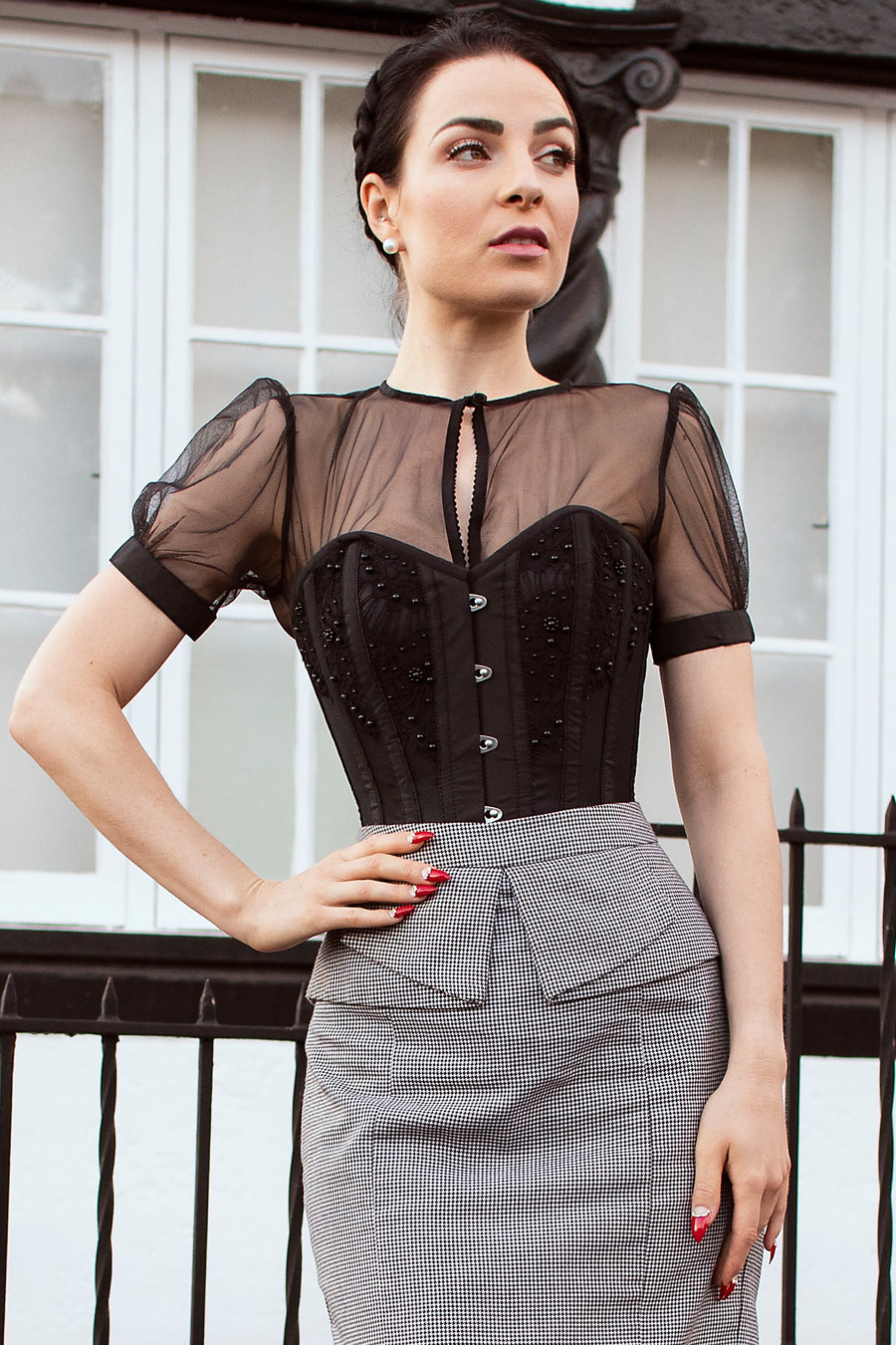 Instant Shape Black Mesh Corset With Semi-Sheer Sleeves