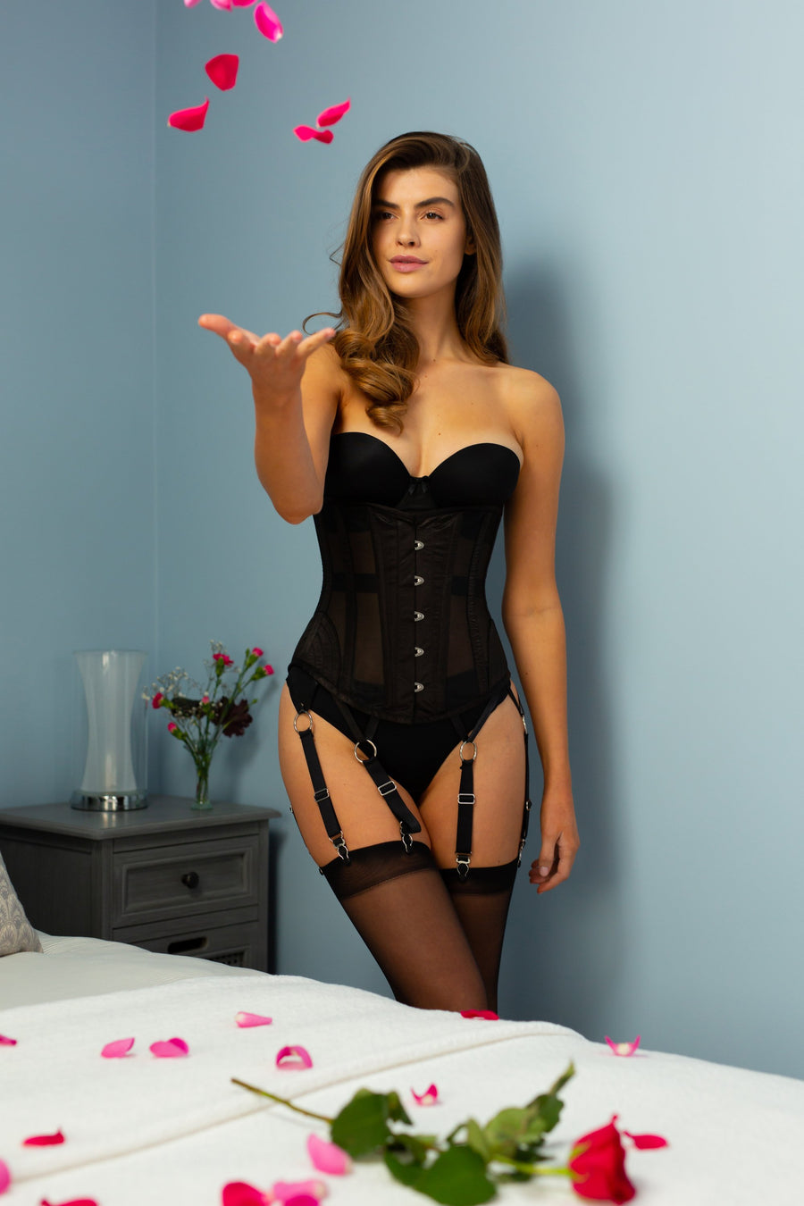 Parisian Black Lingerie Underbust Corset with Suspender Clips
