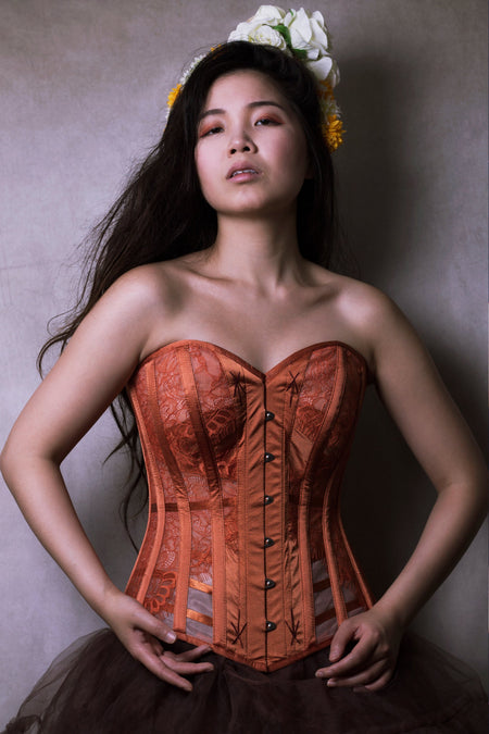 Burnt Orange Mesh Lingerie Corset
