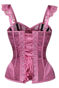Lingerie Inspired Hot Plum Overbust Corset With Shoulder Straps