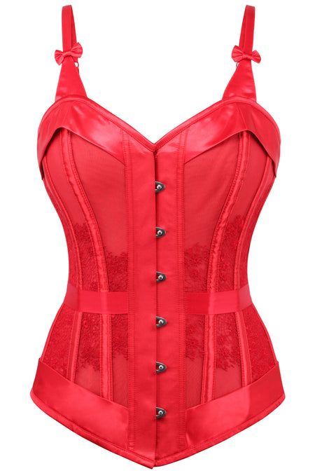 Red Satin Overbust With Snowflake Guipure Lace