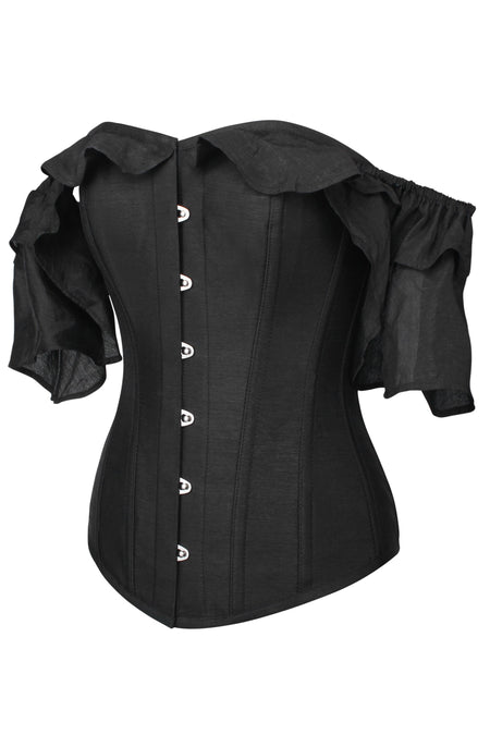 Black Satin Corset Top With Waterfall Sleeves