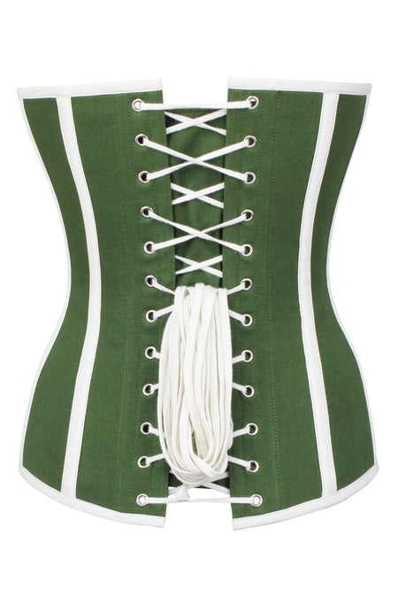 Green and White Single Layer Overbust Corset