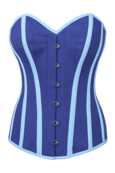 Blue Single Layer Longline Overbust Corset