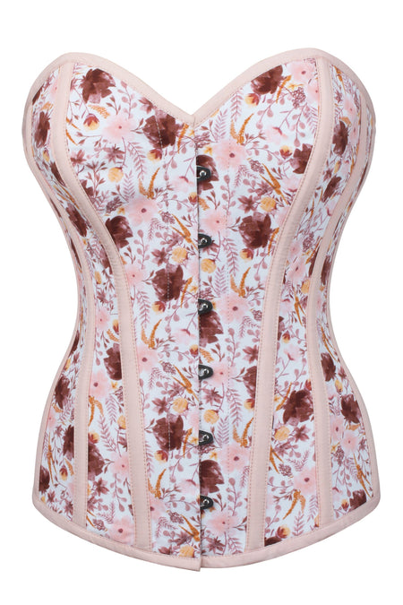 Retro Style Pressed Floral Overbust Corset