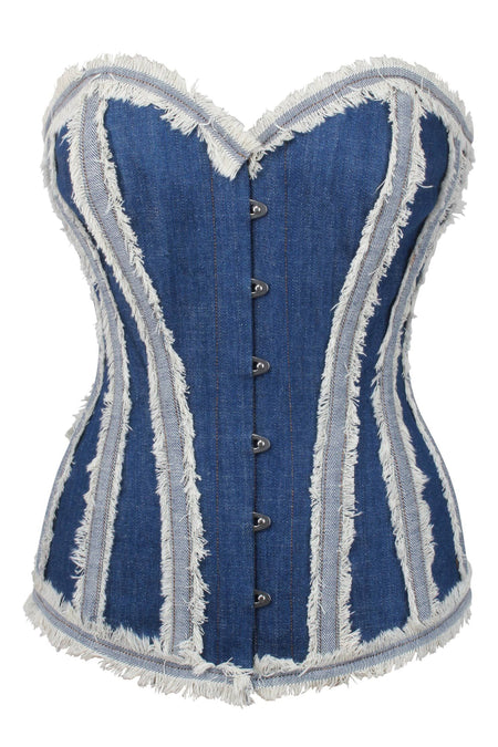 Distressed Denim Longline Overbust Corset