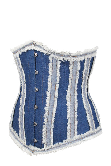 Distressed Denim Single Layer Longline Underbust