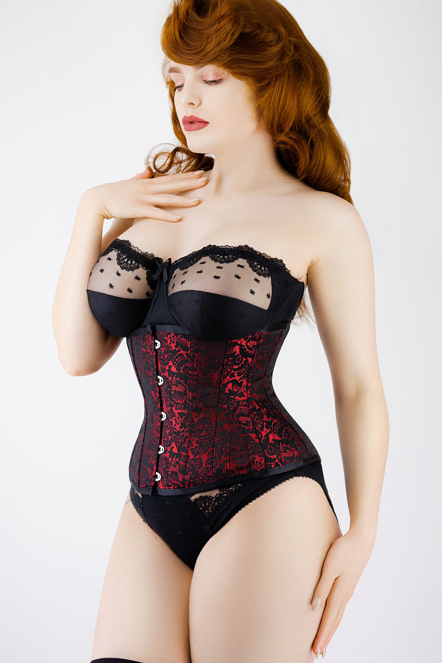 Red Brocade Underbust Corset With Hip Gores