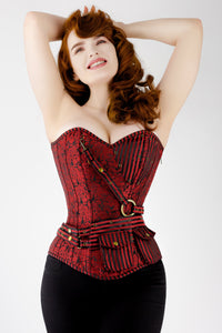 Red Longline Steampunk Corset