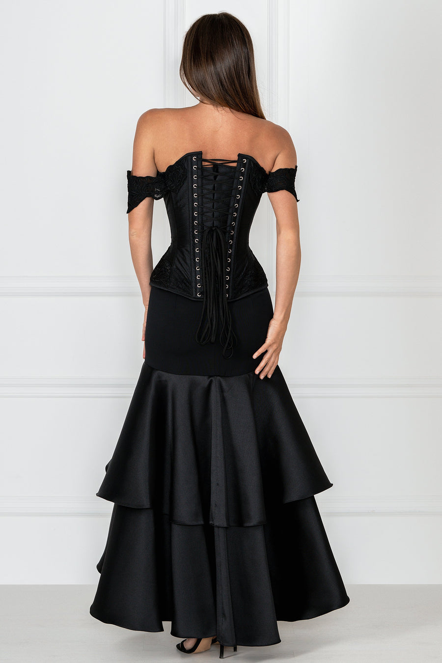 Black Longline Corset Top with Lace Cap Sleeve