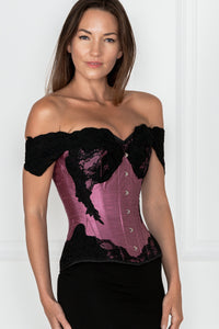 Dusty Pink Longline Corset Top with Lace Cap Sleeve