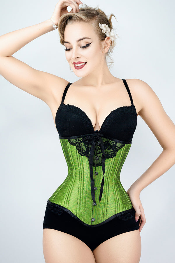 Green Longline Underbust With Black Bow And Lace Detail