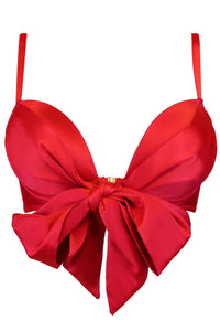 Pour Moi - All Wrapped Up Front Fastening Bow Padded Bra - Red