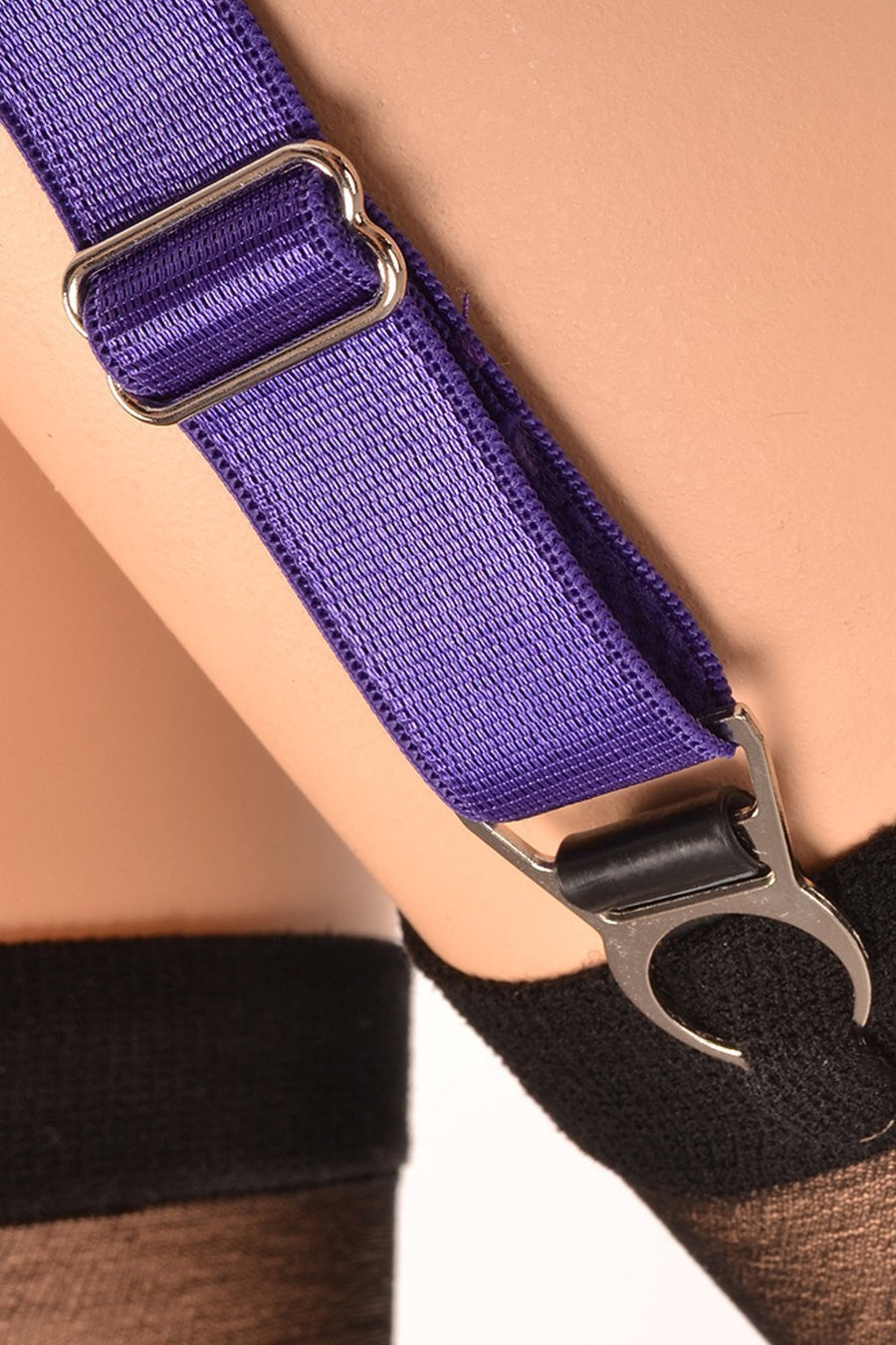 4 x Steel Suspender Clips In Purple