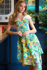 Tropical Print Mesh Panelled Corset Dress