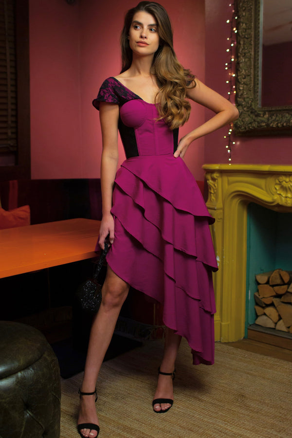 Magenta Mesh & Lace Corseted Dress