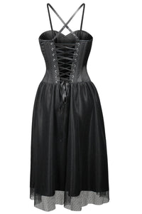 Black Satin Corset Dress with Tulle Skirt