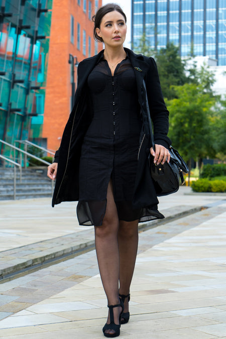 Black Corset Shirt Dress