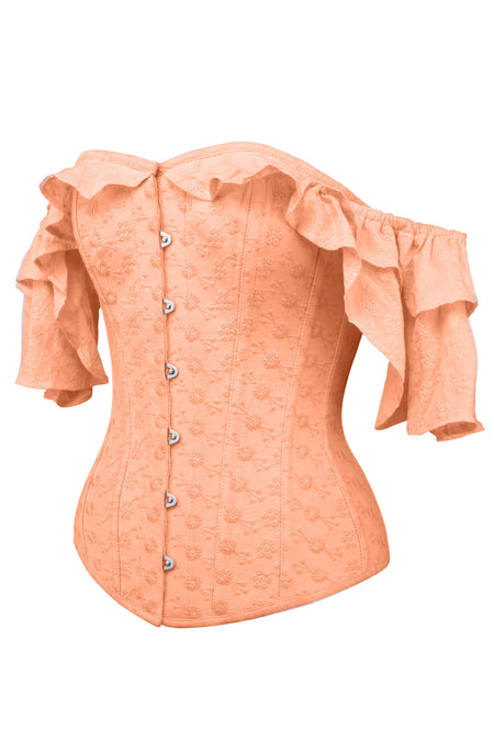 Coral Cotton Corset Top With Frilled Sleeve