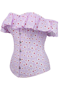 Lilac Ditsy Floral Summer Corset Top with Bardot Sleeve
