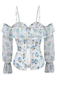 Long Sleeve White Ditsy Floral Corset Top with Cold Shoulder