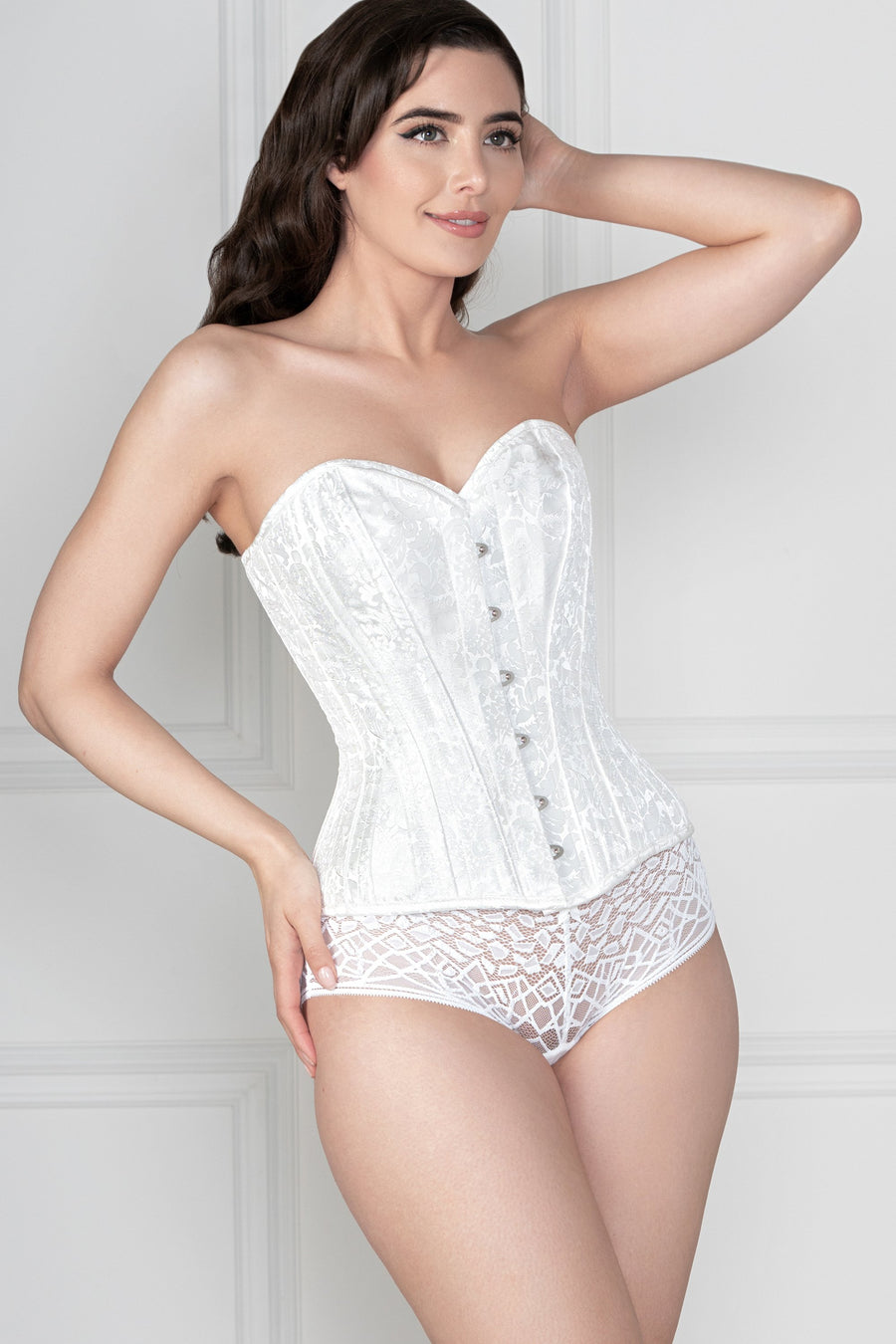 White Brocade Expert Waist Training Corset