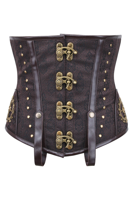 Tan Leatherette Steampunk Underbust With Vintage Style Buckles