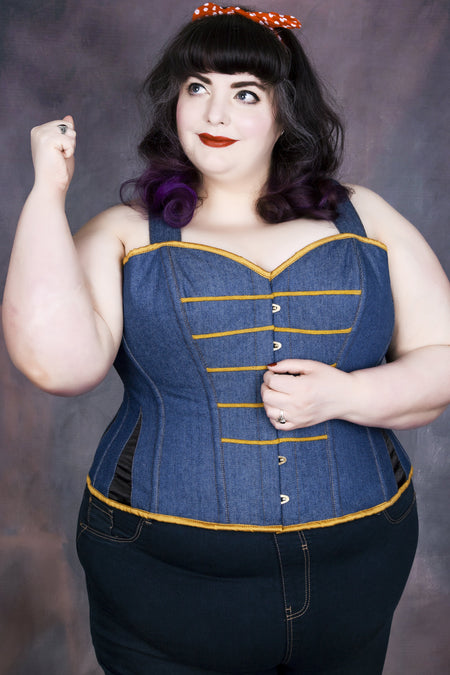 Denim Military Inspired Shoulder Strap Corset