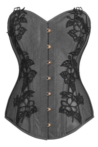 Black Longline Overbust Corset with Black Lace and Mesh Panels