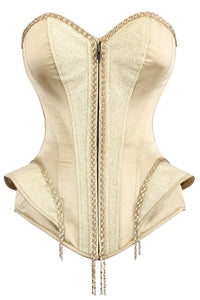 Champagne Gold Burlesque Longline Waist Taming Overbust With Peplum