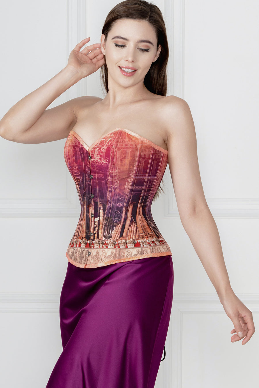 ARCHITECTURAL PRINT WAIST TAMING CORSET