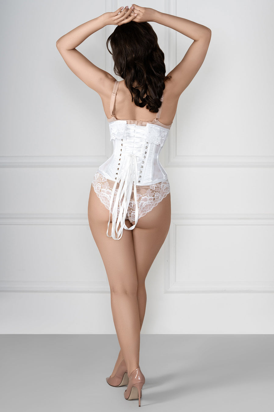 White Dupion Bridal Corset with Super Fine Mesh Panels