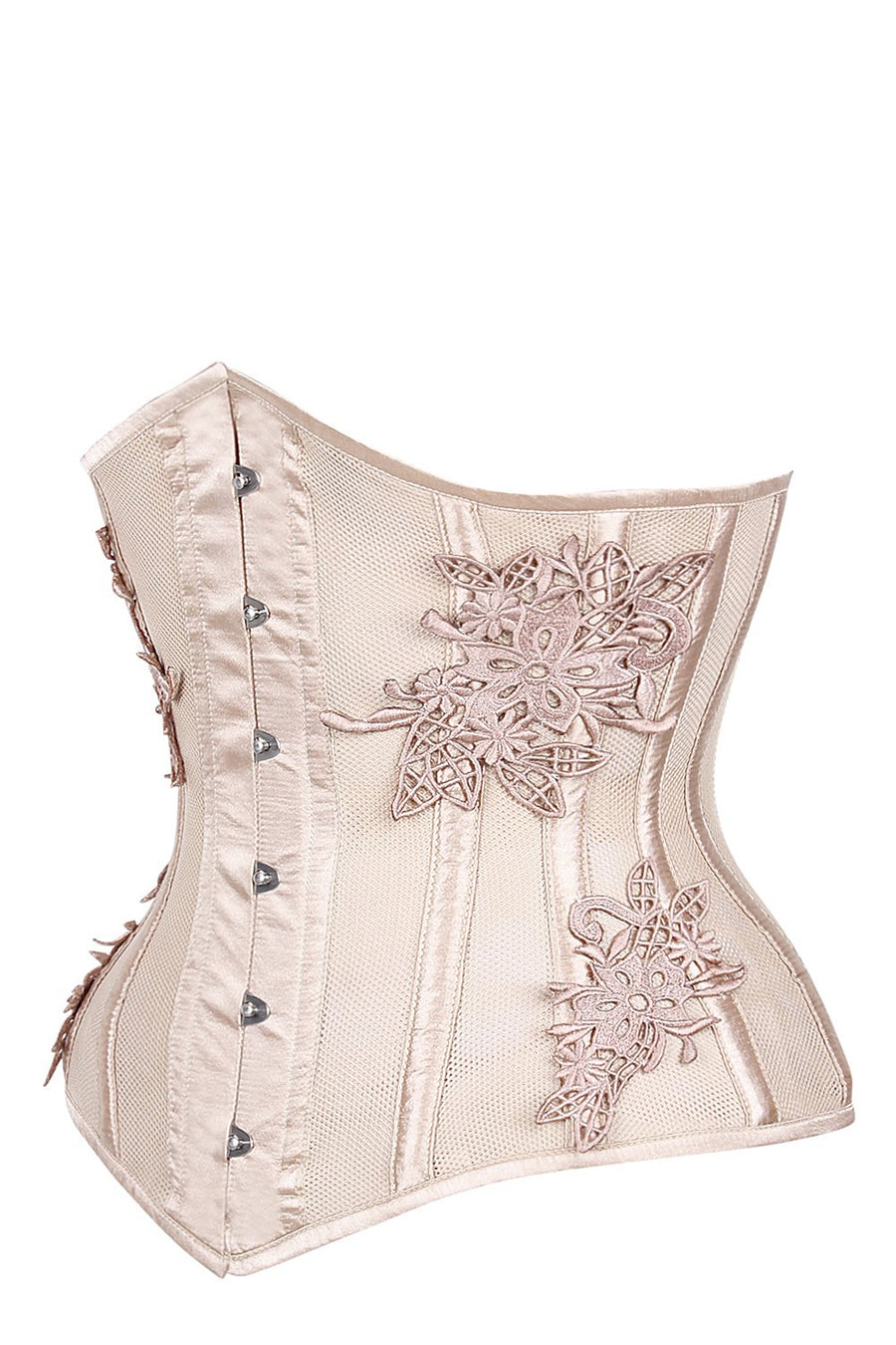 Longline Bridal Corset with Super Fine Mesh Panels and Floral Appliqué
