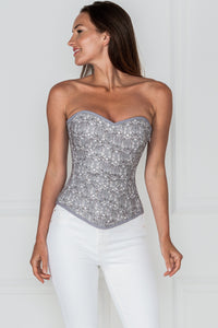 Historically Inspired 1950-2000 Grey Cotton Overbust Corset
