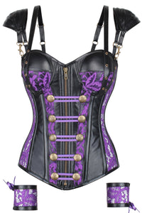 Lace Overlay PVC with Double Shoulder Strap and Cuffs